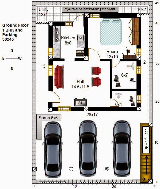 My little indian villa november 2014 for 30x40 north facing house plans