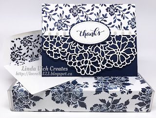 Linda Vich Creates: So Detailed Floral Boutique Thank You. A formal thank you card made with the So Detailed Framelits and the Floral Boutique DSP.