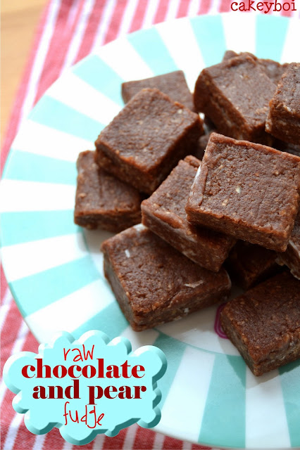 raw chocolate and pear fudge