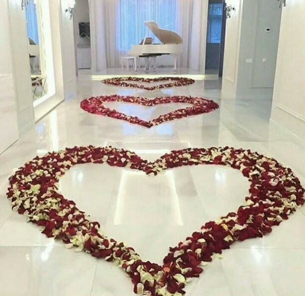 Roses in love shape for proposal