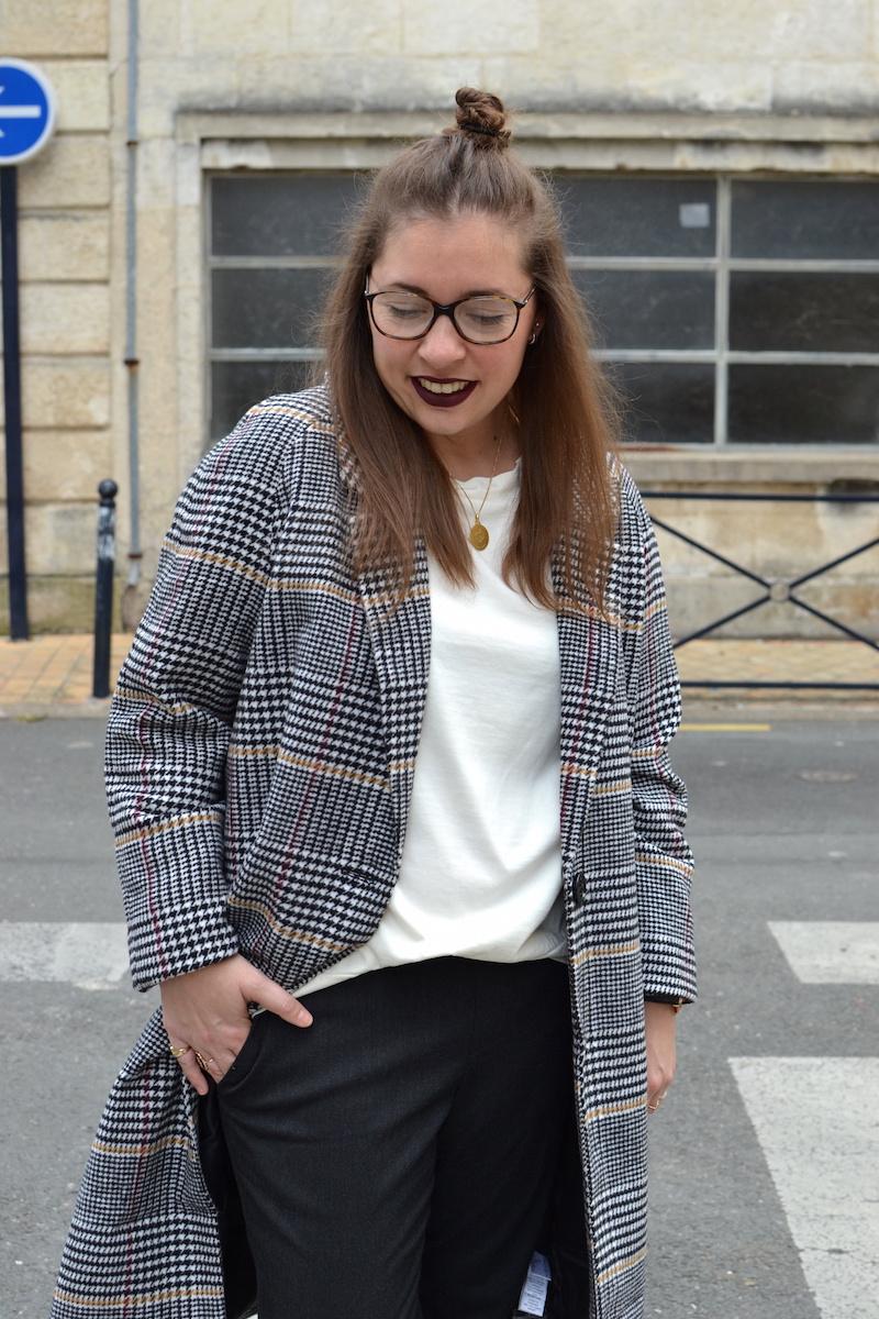 manteau long pied de poule La Redoute, top blanc Zara, pantalon gris foncé Uniqlo
