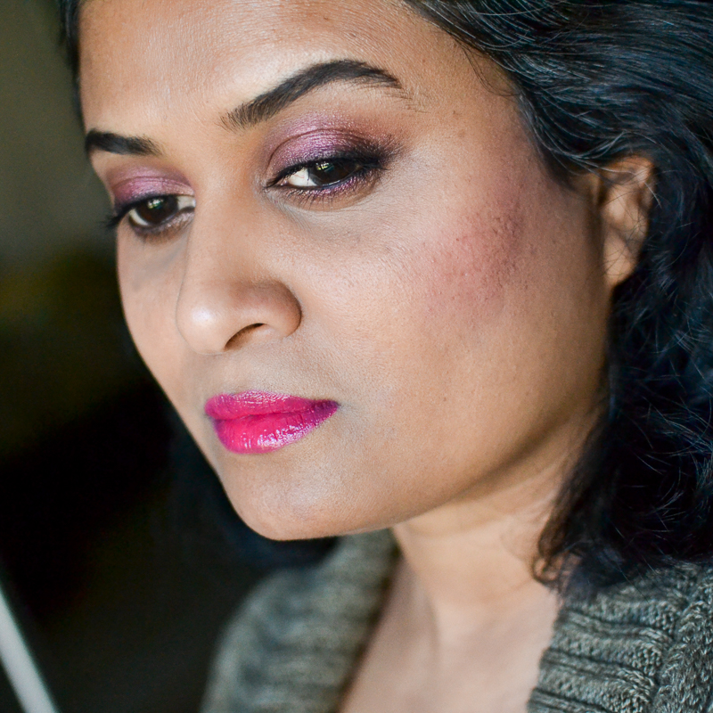 Easy Fall Winter Makeup - Cranberry Eyeshadow - Fuchsia Pink Lips