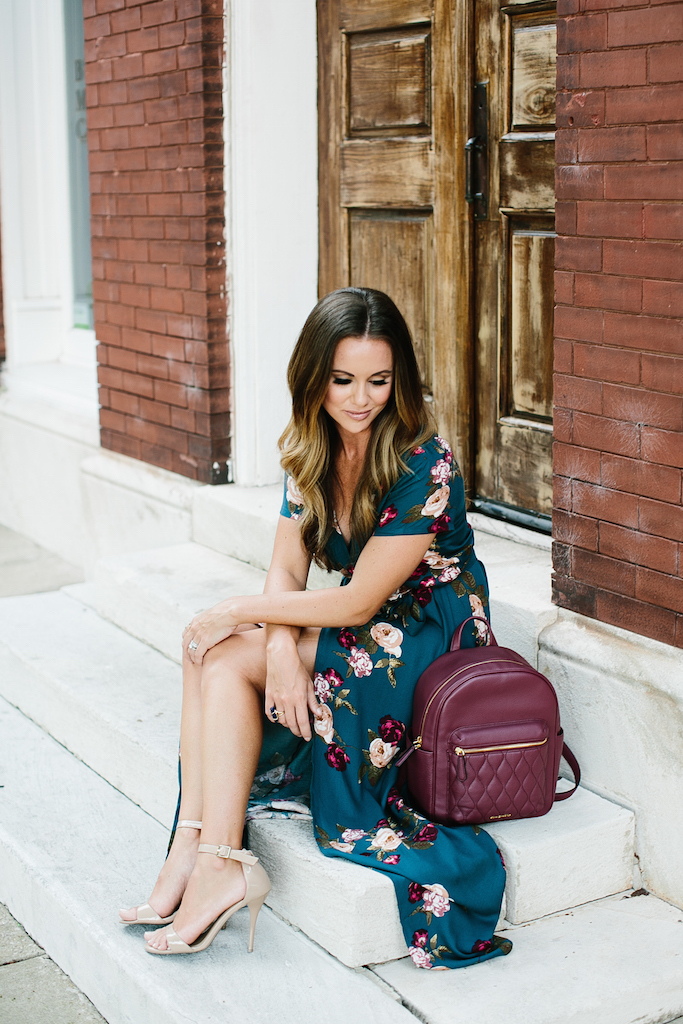 KBStyled: floral maxi dress backpack vera bradley back to school