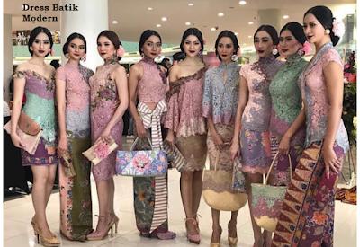 gaun pesta anak muda brokat kombinasi batik modern