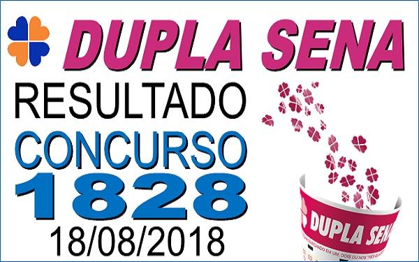 Resultado da Dupla Sena concurso 1828 de 18/08/2018 (Imagem Informe Notícias)