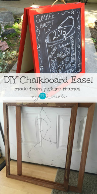Create your own chalkboard art signs for any event with this SUPER easy DIY Chalkboard Easel made from some old picture frames, MyLove2Create.