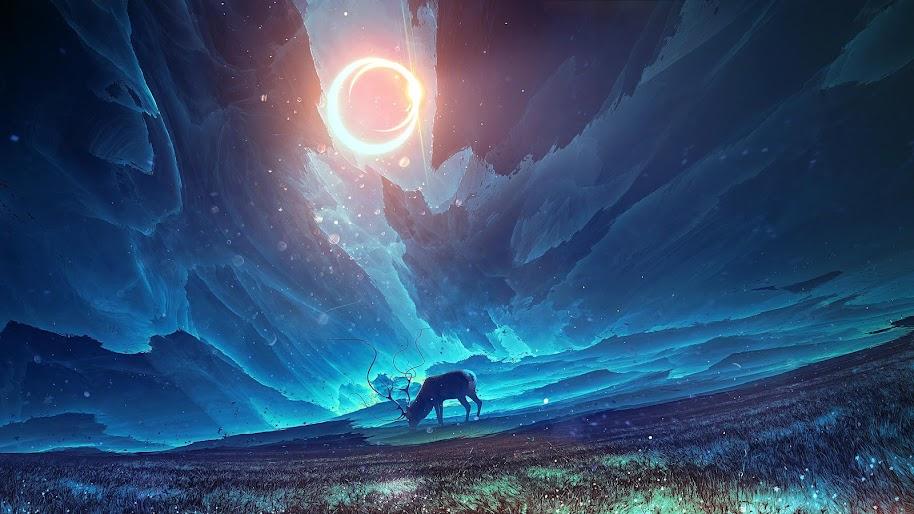 Fantasy Moon Scenery Deer 4k Wallpaper 77