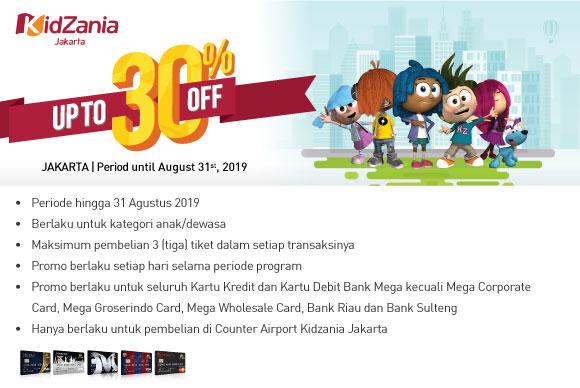 Bank Mega - Promo Diskon 30% di Kidzania Zakarta (s.d 31 Agustus 2019)