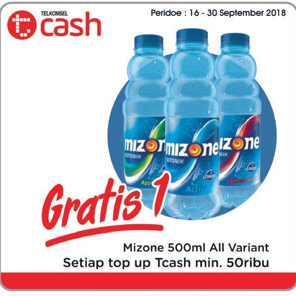 Alfamidi - Promo TopUp Tcash Min 50 Ribu Gratis Mizone 500 ml All Variant (s.d 30 Sept 2018)
