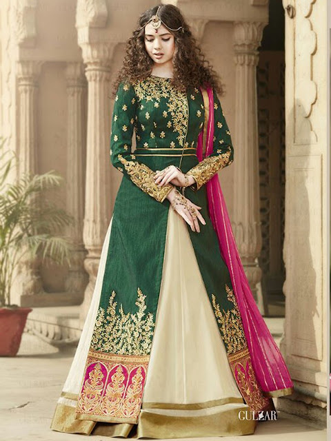 GREEN COLOUR EMBROIDERED JACKET STYLE GOWN