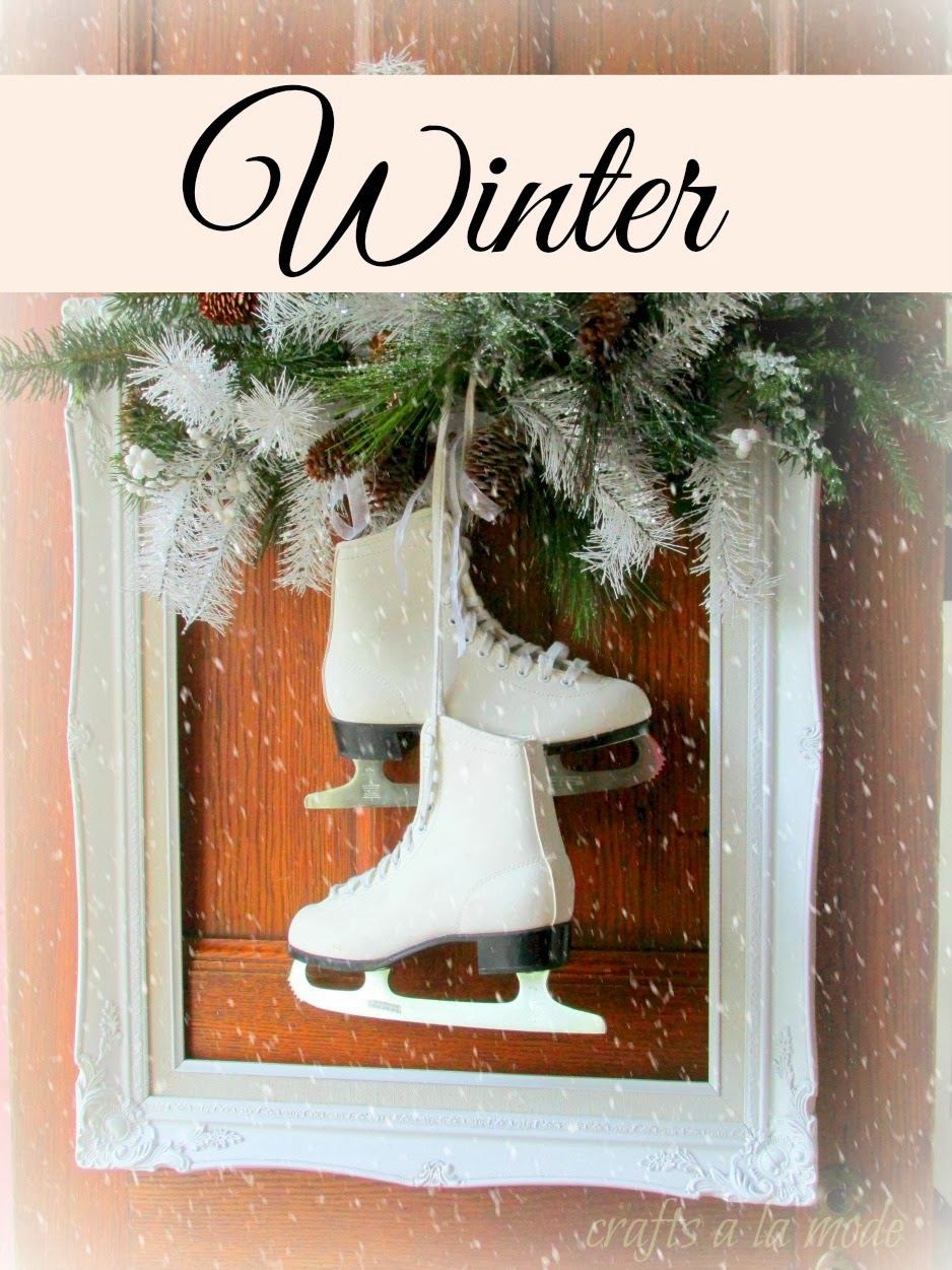square wreath with white ice skates - Ice Skate Christmas Decoration