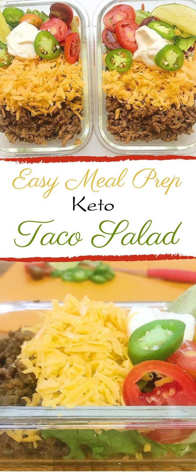 Easy Meal Prep Keto Taco Salad #lunch #keto