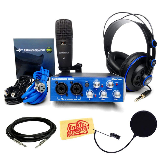 Presonus AudioBox Studio Bundle with Pop Filter, Instrument Cable, Headphones, Microphone, Mic Cable, USB Cable, StudioOne Artist Software, and Polishing Cloth