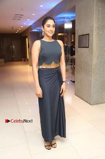Actress Regina Candra Stills in Beautiful Blue Long Dress at Nagaram Success Meet  0181.JPG