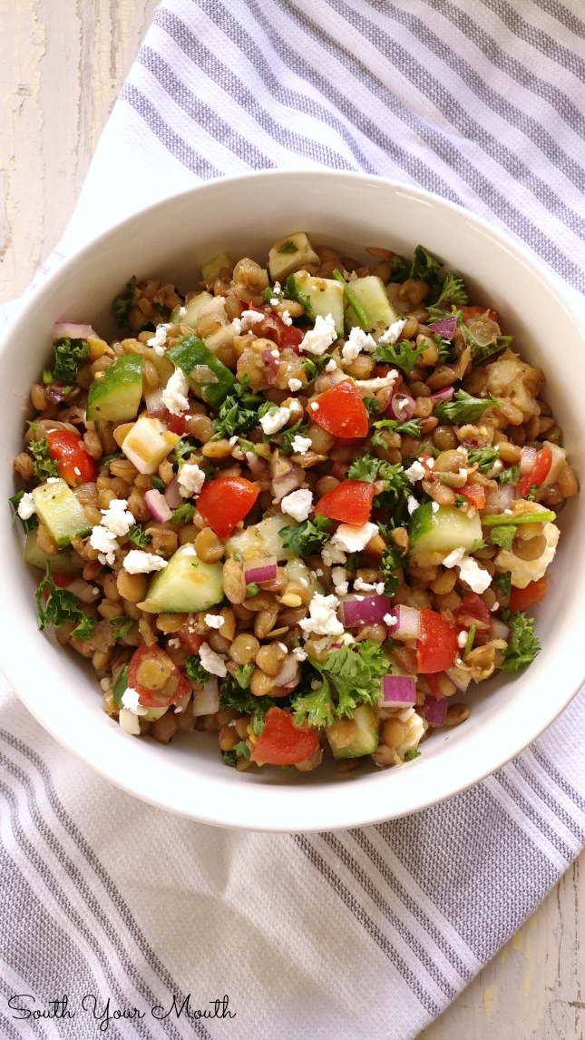 Mediterranean Lentil Salad with an easy homemade vinaigrette (or use prepared) and fresh, crisp vegetables.