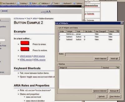 List of DHTML Widget, or cada uno se indica su rol o su orden de tabulación