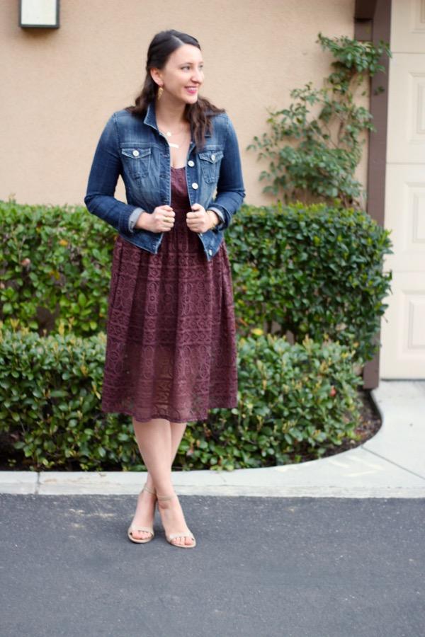 460a29850f9e LunaVida  Lace Place  Denim Jacket + Midi Dress + Ankle Strap Heels