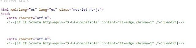 la etiqueta meta charset esta duplicada en el código fuente de la web de Cepsa