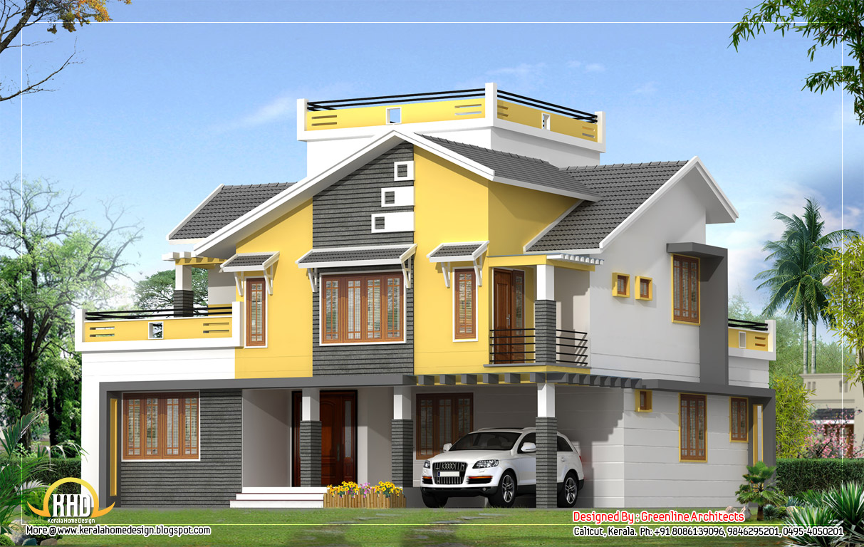 Villa elevation 2550 sq ft kerala home design and for Villas elevations photo gallery