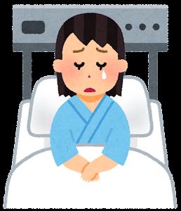 いろいろな表情の入院中の人のイラスト(女性・泣いた顔)