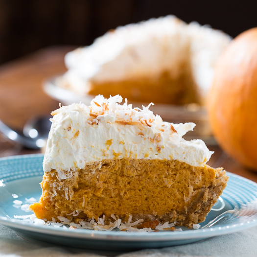 Pumpkin Coconut Chiffon Pie from Spicy Southern Kitchen