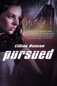 front cover of Lillian Duncan's suspense novel, Pursued, showing a brunette woman on one side and a man standing in the rain with a gun on the other