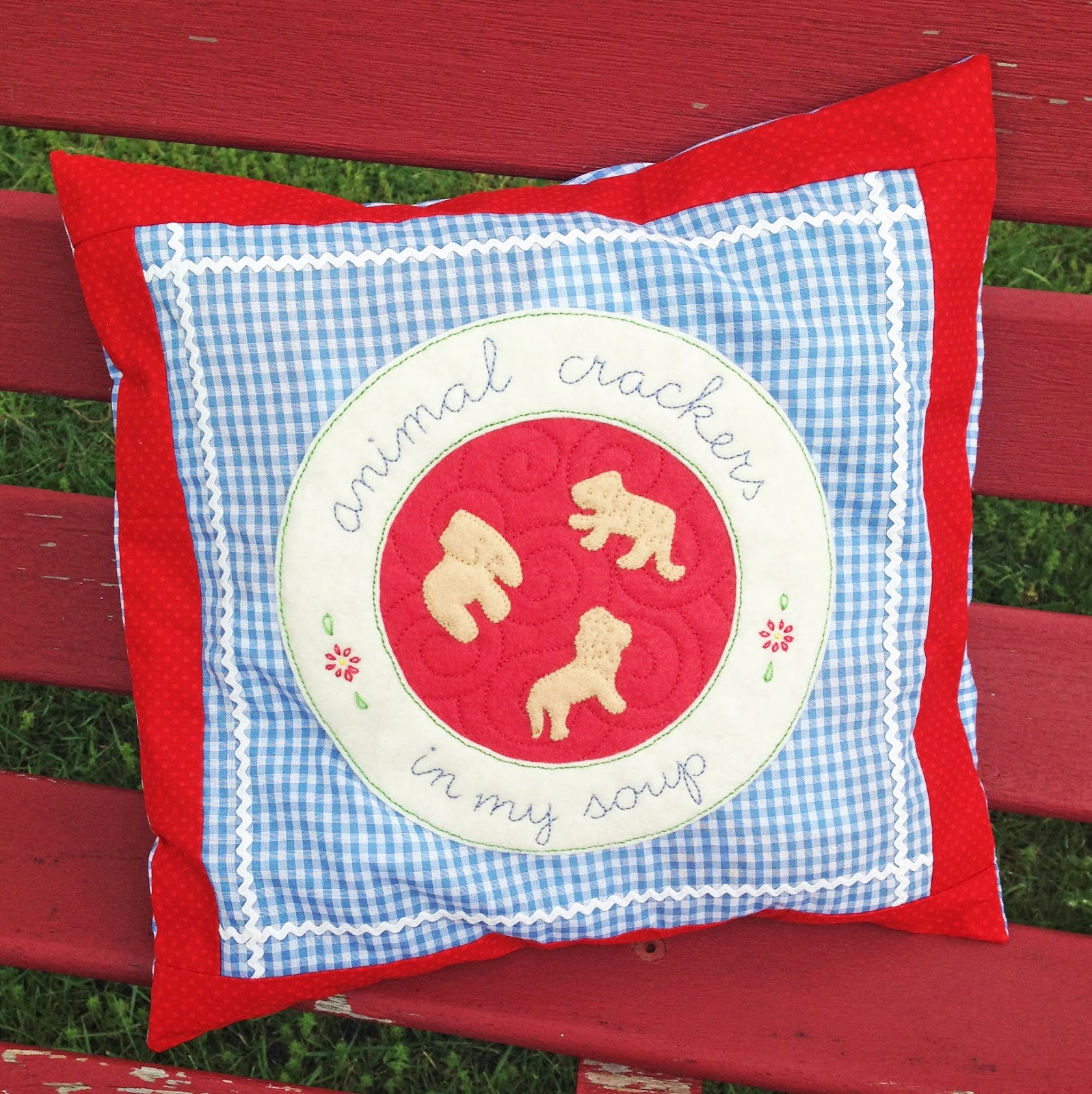 Kbb Crafts Stitches Animal Crackers In My Soup Pillow