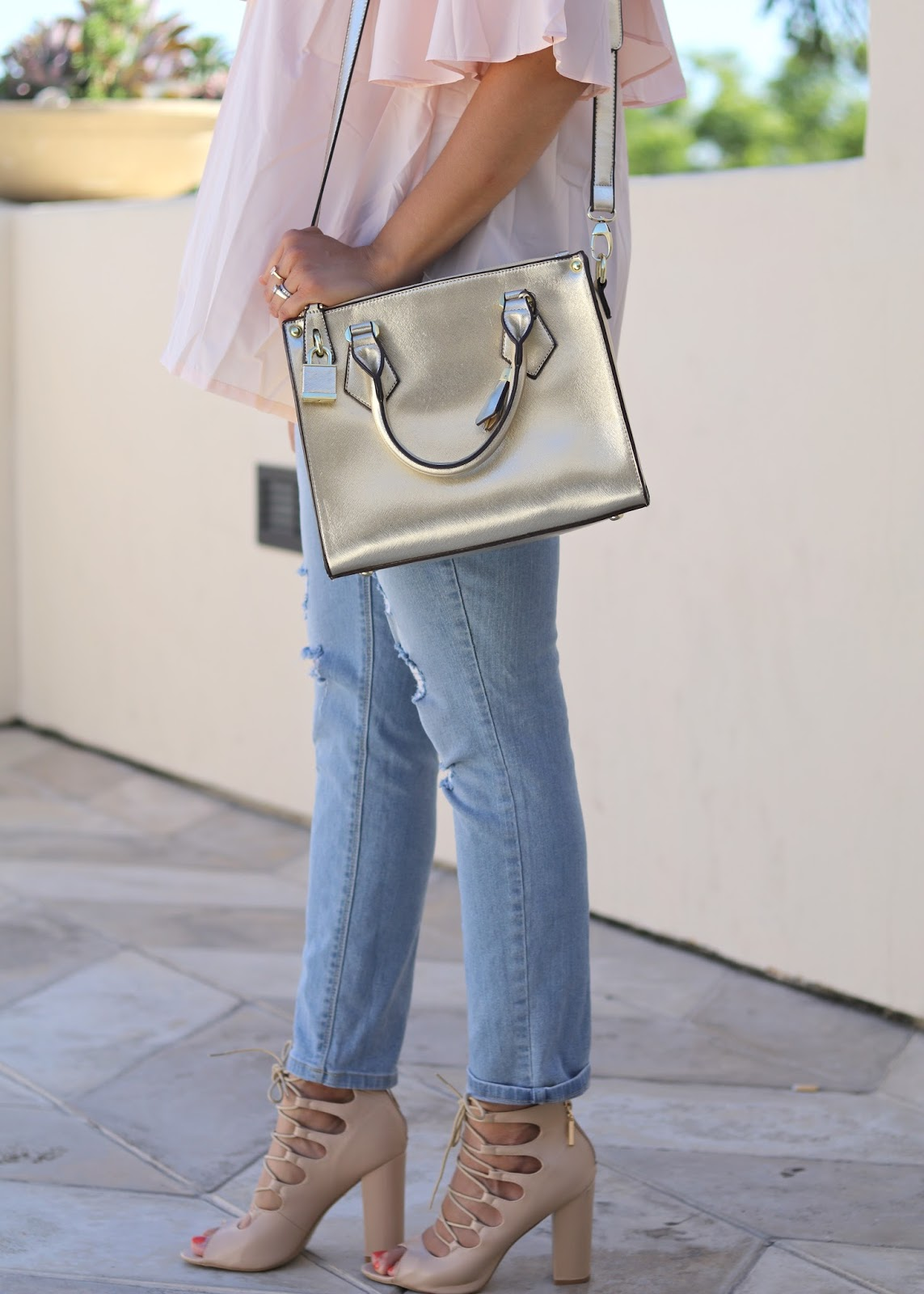 missguided heels, gold handbag, distressed jeans outfit, rampage distressed jeans, socal blogger, socal fashion blogger