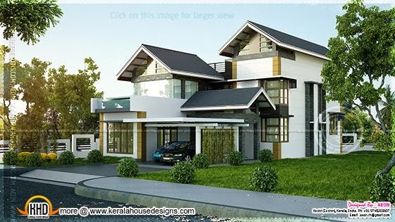 Contemporary sloping roof