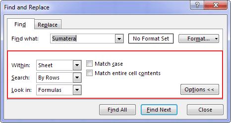 Fitur FIND Microsoft Excel