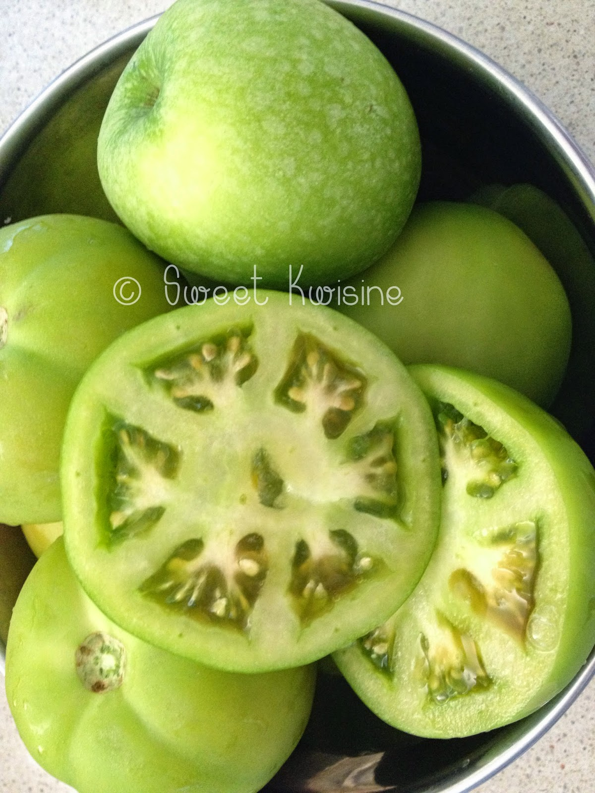 sweet kwisine, tomate, verte, confiture, vanille, légumes moches,