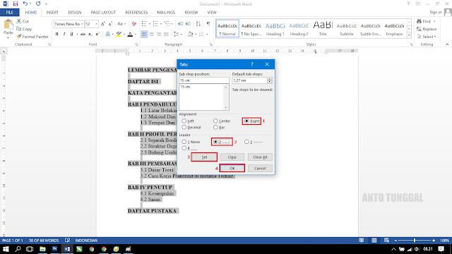 cara mudah membuat daftar isi titik dengan microsoft word