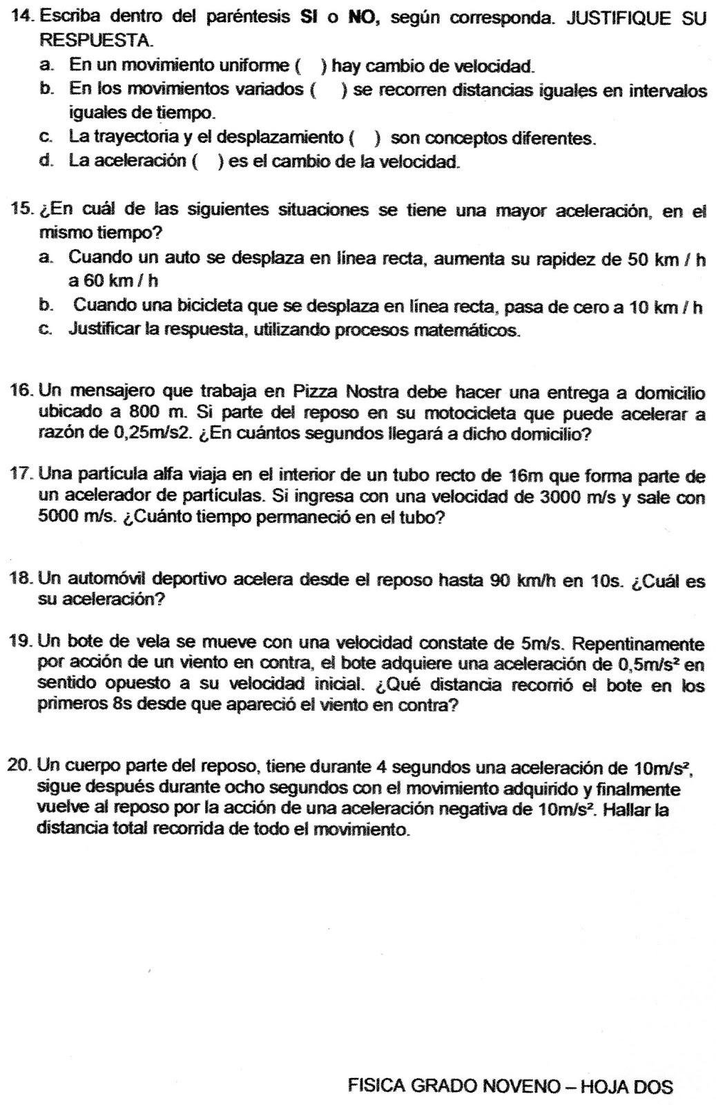 Único Hojas De Trabajo FÃsica Noveno Grado Inspiración - hojas de ...