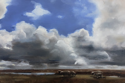Sheep and clouds, landscape oil painting by Philine van der Vegte