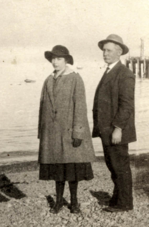 Nola (age 16) with her father William in Los Angeles, 1918. Months before his death.