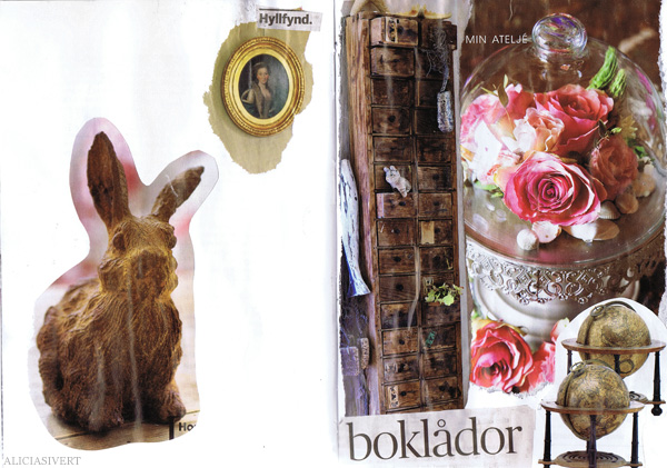 aliciasivert alicia sivertsson collage sköna hem drömhem och trädgård dagens nyheter scrapbook scrap book lådor jordglob kanin bunny rabbit box drawer globe earth glaskupa
