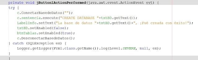 como crear una base de datos con java