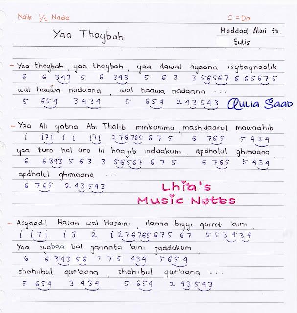 Not Angka : Haddad Alwi feat. Sulis - Yaa Thoybah | Aulia