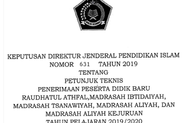 Juknis PPDB Madrasah Tahun 2019/2020