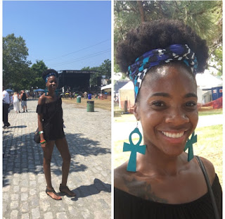 Natural Hair 4c Hair in Afro Puff with African Head Wrap- African Print