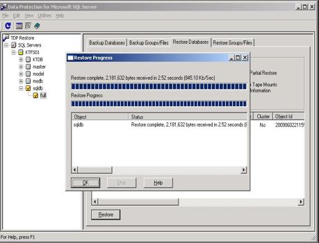 TDP SQL restore GUI