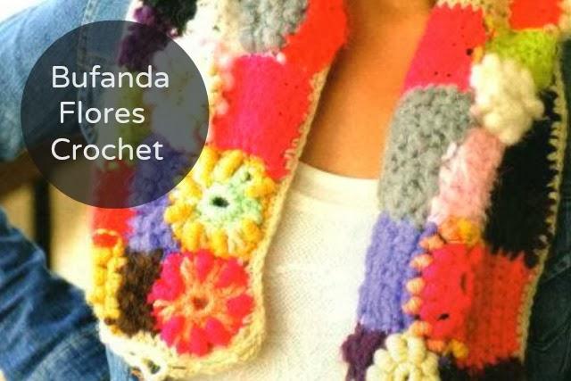 Bufanda de Flores Crochet Instrucciones