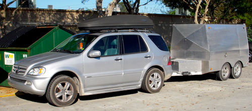 Polyflex SUV and horsegluing trailer outside Palm Beach Farrier Supply