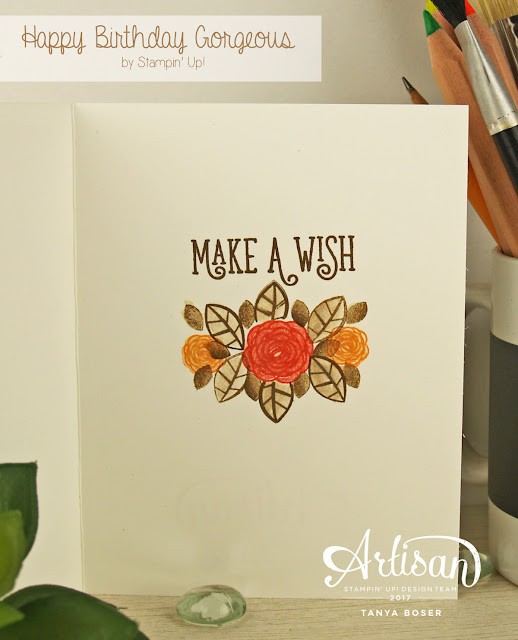 Stampin' Up! Happy Birthday Gorgeous stamp set with Gold emboss resist. Sponge and Spritz you way to a beautiful card! Tanya Boser for the Artisan Design Team