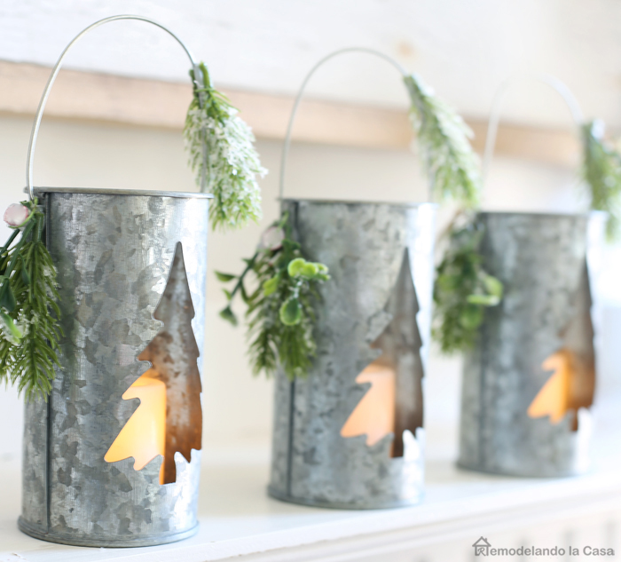 metal tealight holders on Valentine's day mantel