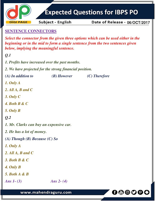DP |  Expected Questions For IBPS PO | 06- 10 - 2017