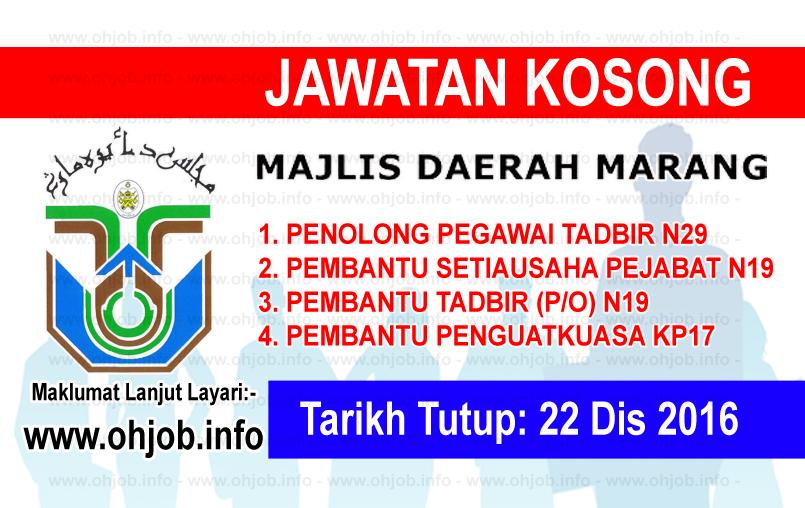 Jawatan Kerja Kosong Majlis Daerah Marang (MDM) logo www.ohjob.info disember 2016