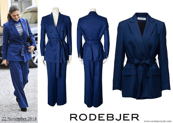 Crown Princess Victoria wore RODEBJER Suit Zoe Blazer and darcel trousers