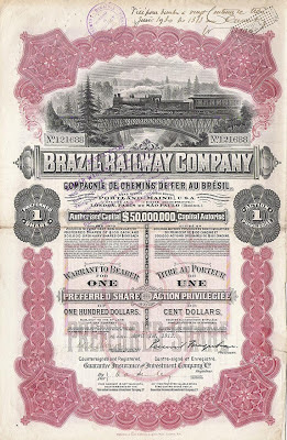 share of the Brazil Railway Company, printed by Waterlow and Sons