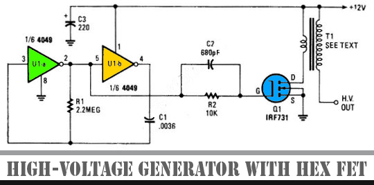high voltage generator with hex fet